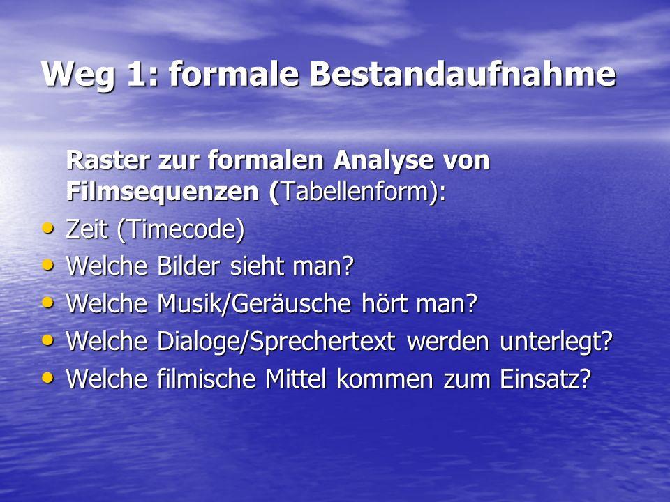 Weg 1: formale Bestandaufnahme Raster zur formalen Analyse von Filmsequenzen (Tabellenform): Zeit (Timecode) Zeit (Timecode) Welche Bilder sieht man?