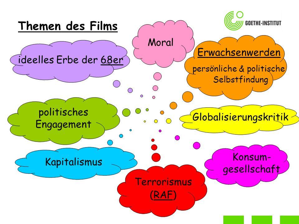 Themen des Films Erwachsenwerden persönliche & politische Selbstfindung ideelles Erbe der 68er politisches Engagement Globalisierungskritik Terrorismus (RAF) Moral Kapitalismus Konsum- gesellschaft