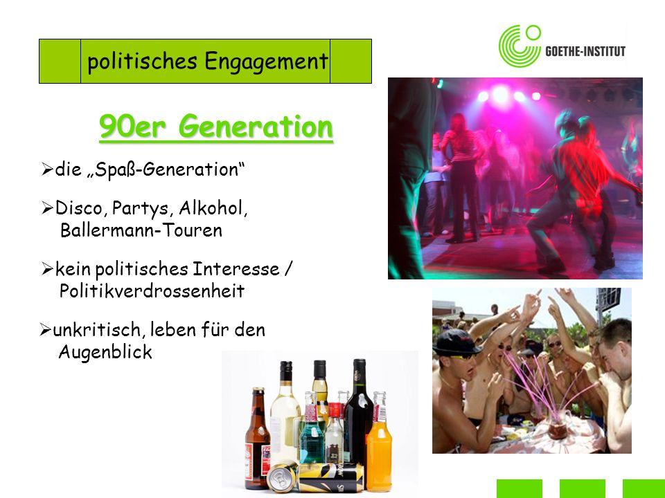 politisches Engagement 90er Generation die Spaß-Generation Disco, Partys, Alkohol, Ballermann-Touren kein politisches Interesse / Politikverdrossenheit unkritisch, leben für den Augenblick