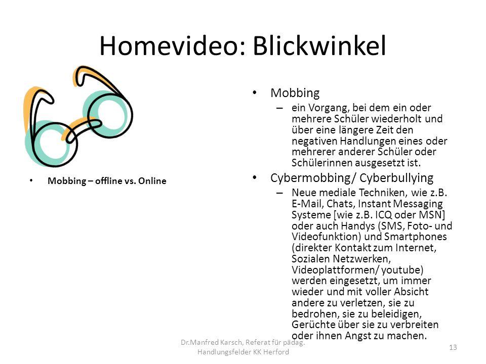Homevideo: Blickwinkel Mobbing – ein Vorgang, bei dem ein oder mehrere Schüler wiederholt und über eine längere Zeit den negativen Handlungen eines od