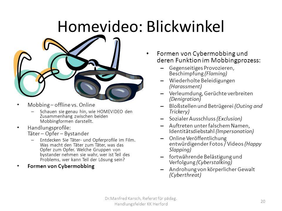 Homevideo: Blickwinkel Formen von Cybermobbing und deren Funktion im Mobbingprozess: – Gegenseitiges Provozieren, Beschimpfung (Flaming) – Wiederholte
