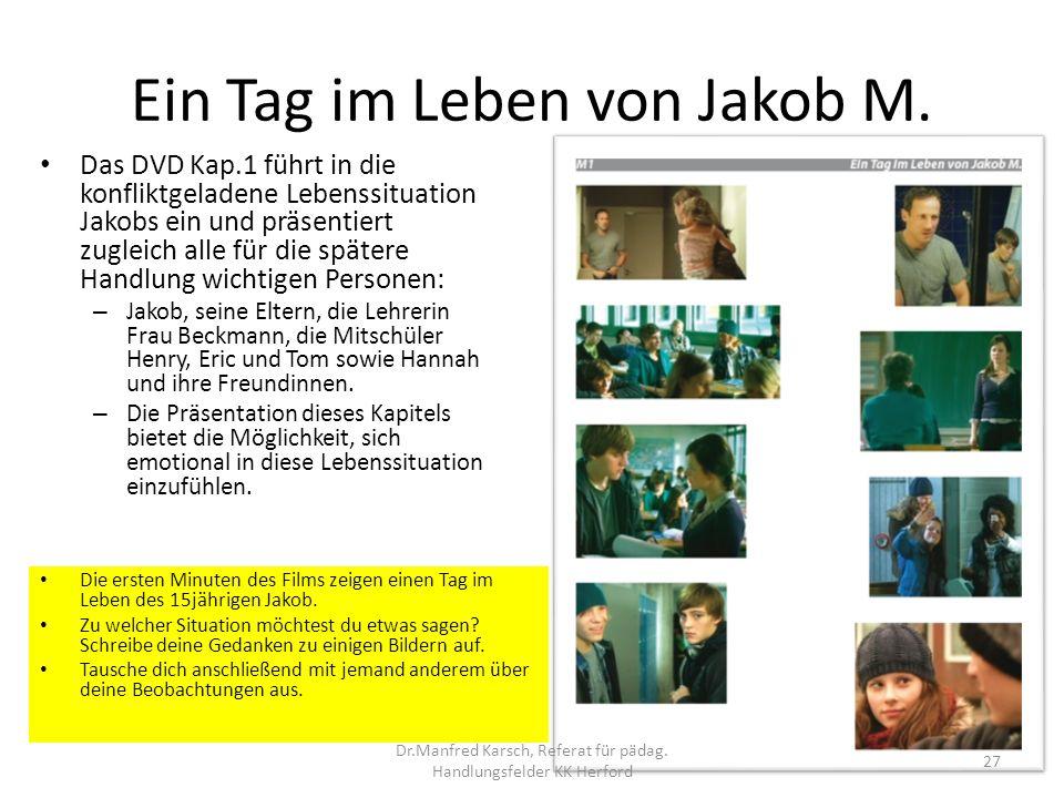 Ein Tag im Leben von Jakob M. Das DVD Kap.1 führt in die konfliktgeladene Lebenssituation Jakobs ein und präsentiert zugleich alle für die spätere Han