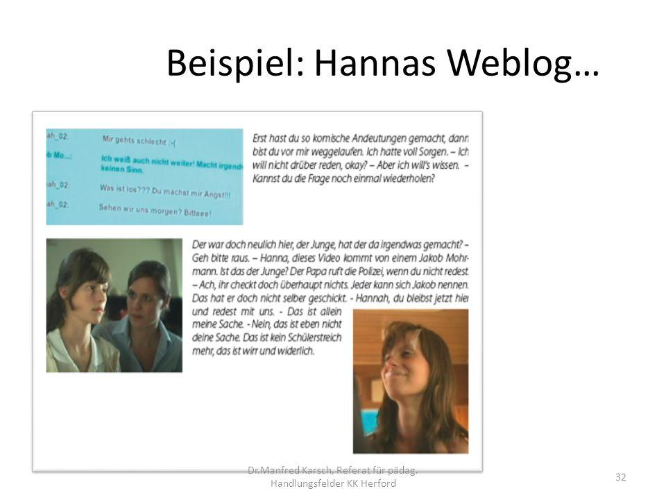 Beispiel: Hannas Weblog… 32 Dr.Manfred Karsch, Referat für pädag. Handlungsfelder KK Herford