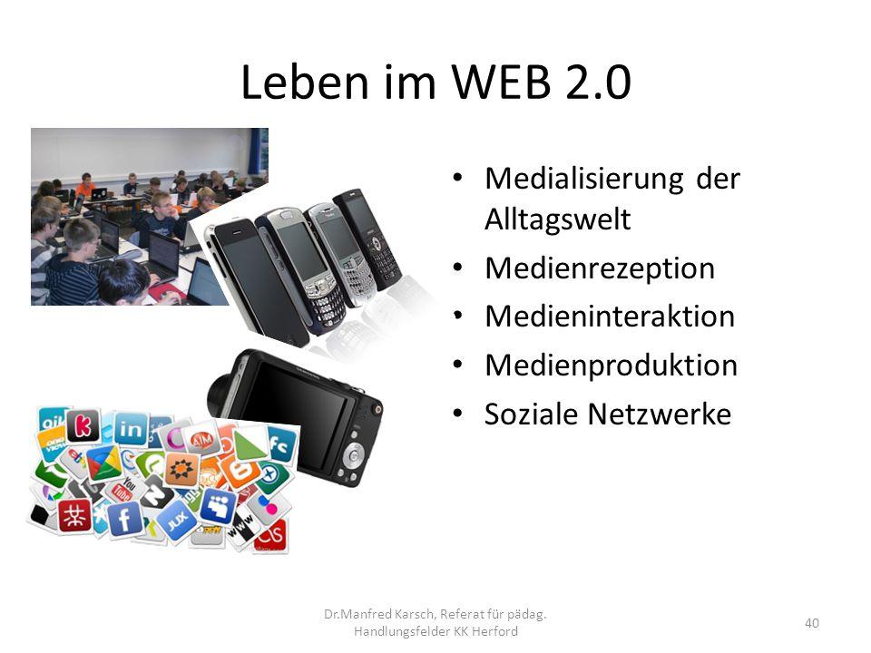 Leben im WEB 2.0 Medialisierung der Alltagswelt Medienrezeption Medieninteraktion Medienproduktion Soziale Netzwerke 40 Dr.Manfred Karsch, Referat für