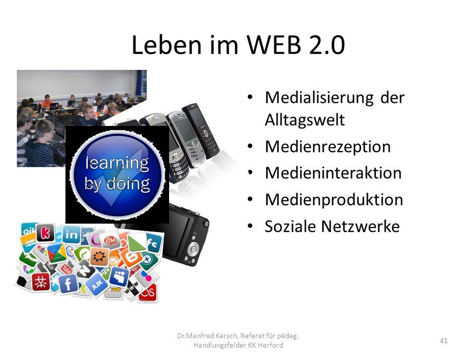 Leben im WEB 2.0 Medialisierung der Alltagswelt Medienrezeption Medieninteraktion Medienproduktion Soziale Netzwerke 41 Dr.Manfred Karsch, Referat für