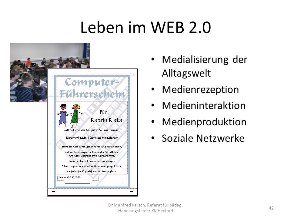 Leben im WEB 2.0 Medialisierung der Alltagswelt Medienrezeption Medieninteraktion Medienproduktion Soziale Netzwerke 42 Dr.Manfred Karsch, Referat für