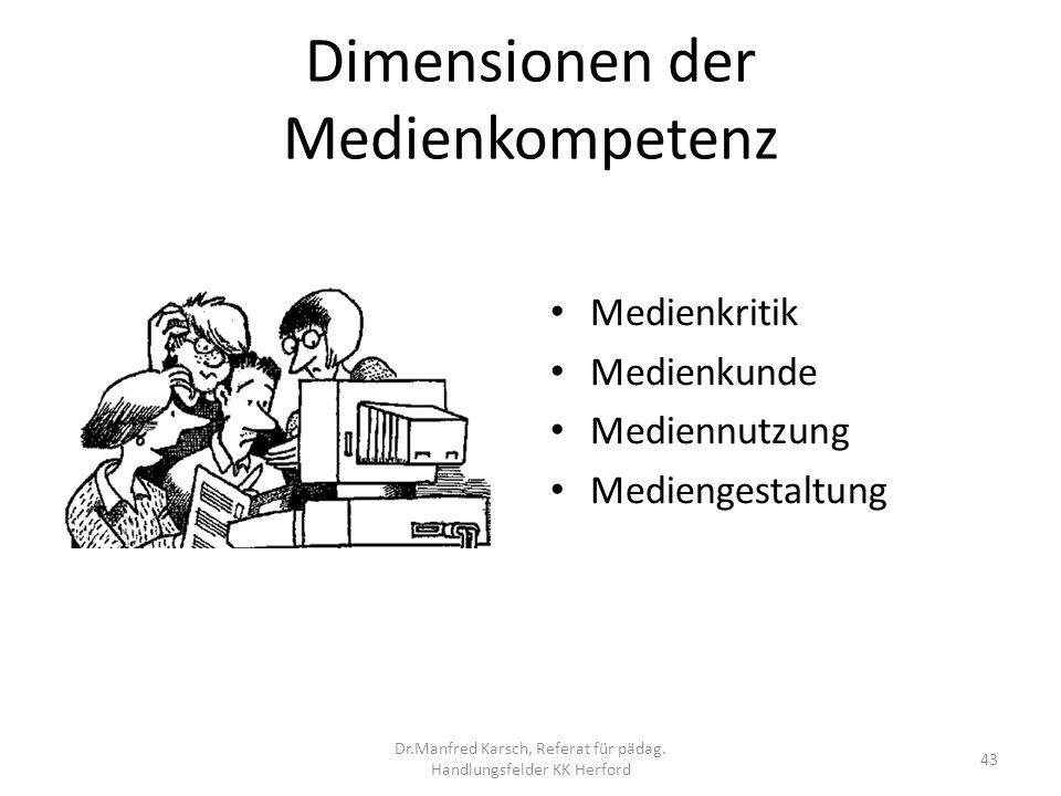Dimensionen der Medienkompetenz Medienkritik Medienkunde Mediennutzung Mediengestaltung 43 Dr.Manfred Karsch, Referat für pädag. Handlungsfelder KK He