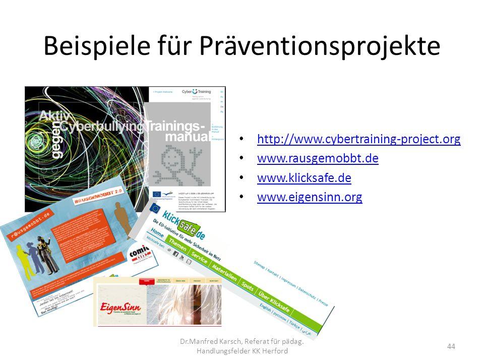 Beispiele für Präventionsprojekte http://www.cybertraining-project.org www.rausgemobbt.de www.klicksafe.de www.eigensinn.org 44 Dr.Manfred Karsch, Ref