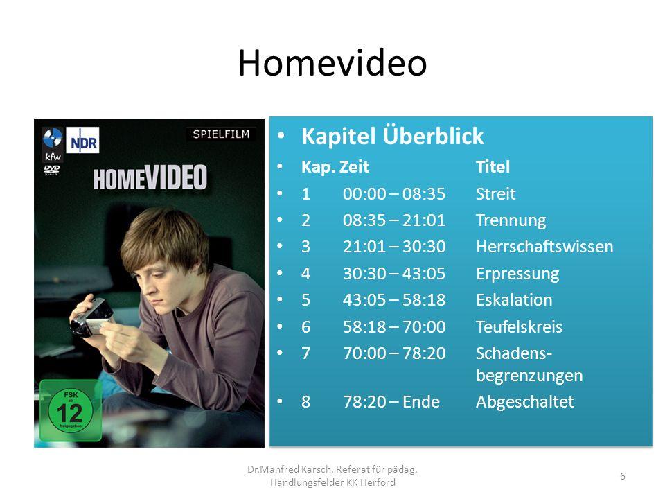 Homevideo Kapitel Überblick Kap. Zeit Titel 1 00:00 – 08:35 Streit 2 08:35 – 21:01 Trennung 3 21:01 – 30:30 Herrschaftswissen 4 30:30 – 43:05 Erpressu