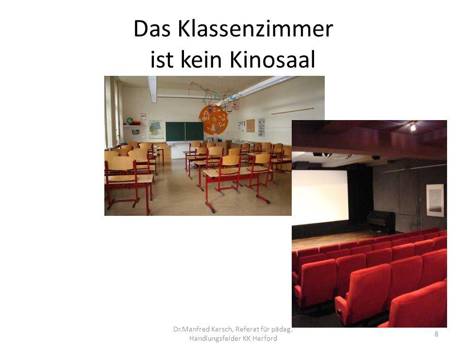 Das Klassenzimmer ist kein Kinosaal Der Film – im Kino ein Unterhaltungsmedium 9 Dr.Manfred Karsch, Referat für pädag.