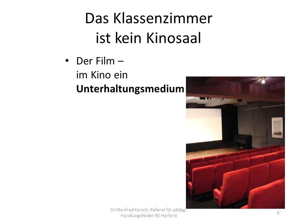 Das Klassenzimmer ist kein Kinosaal Der Film – im Klassenzimmer ein Unterrichts- medium 10 Dr.Manfred Karsch, Referat für pädag.