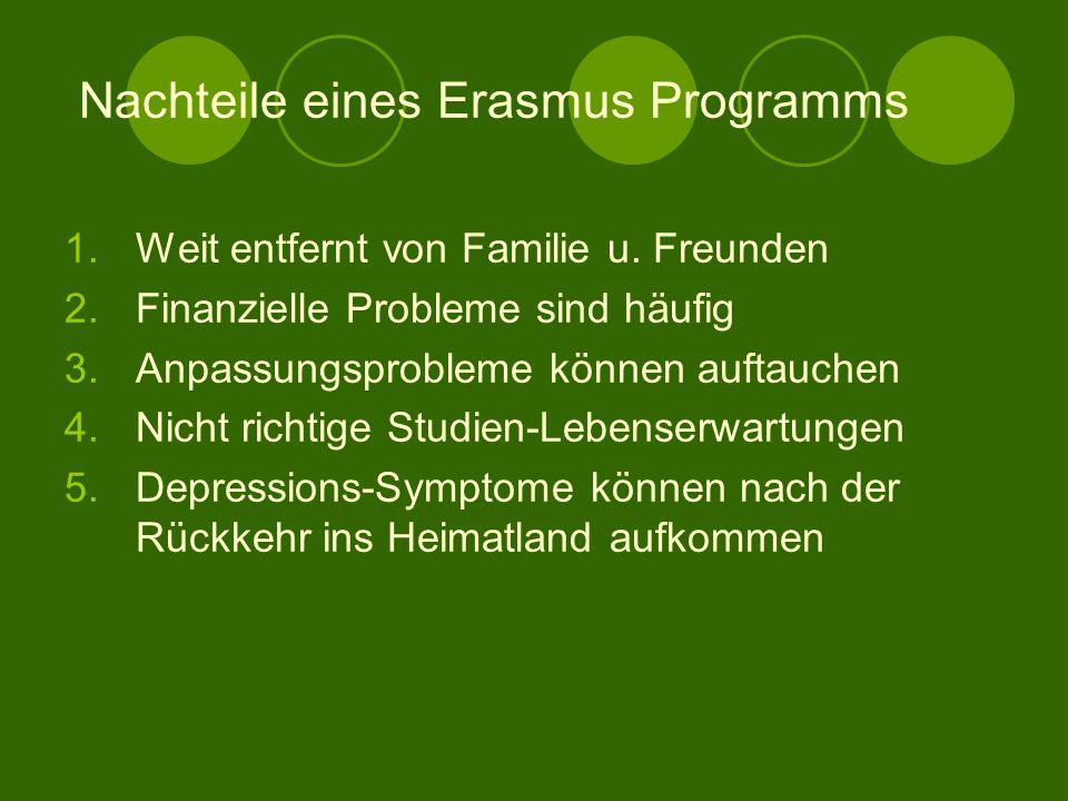 Vorteile eines Erasmus Programms 1.Fremdsprachenkenntnisse zu erweitern 2.Leute aus verschiedenen Ländern kennen zu lernen 3.Selbständiger werden 4.Ne