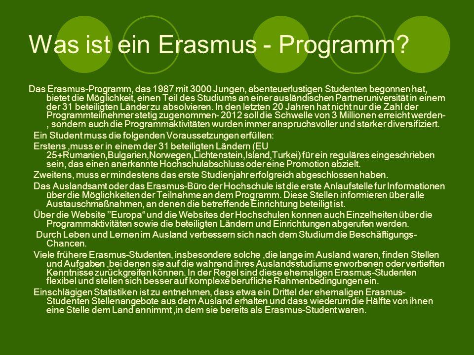 Was ist ein Erasmus - Programm.