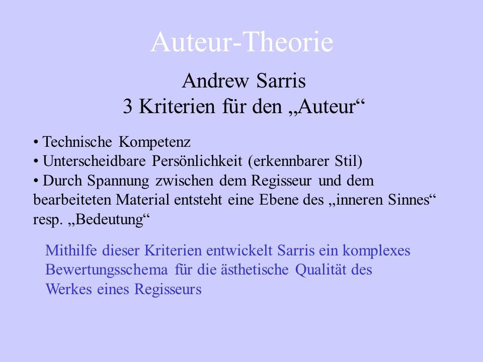 Auteur-Theorie Andrew Sarris Notes on the Auteur-Theory (1962) Aus der Politik wird eine Theorie Ziel: Aufwertung d. amerik. ggüber dem europäischen K