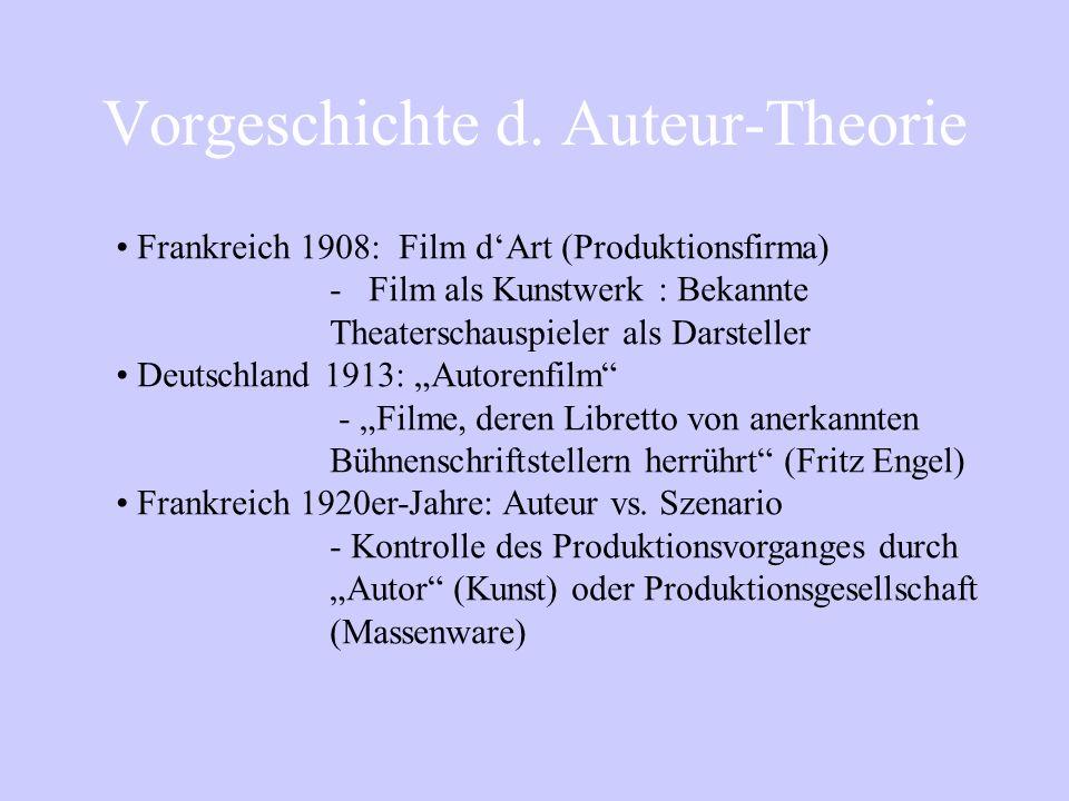 Auteur-Theorie Pauline Kael On Circles and Squares (1963) Einwände gegen die Kriterien v.