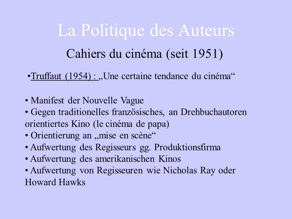 La Politique des Auteurs Truffaut (1954) : Une certaine tendance du cinéma Manifest der Nouvelle Vague Gegen traditionelles französisches, an Drehbuchautoren orientiertes Kino (le cinéma de papa) Orientierung an mise en scène Aufwertung des Regisseurs gg.