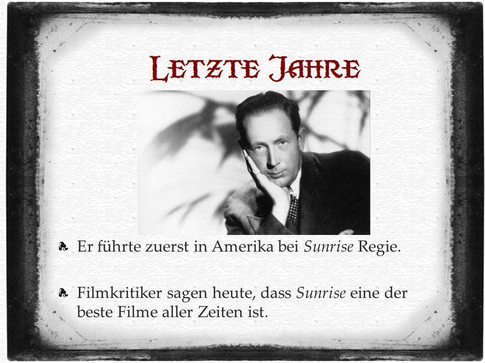 Er führte zuerst in Amerika bei Sunrise Regie.