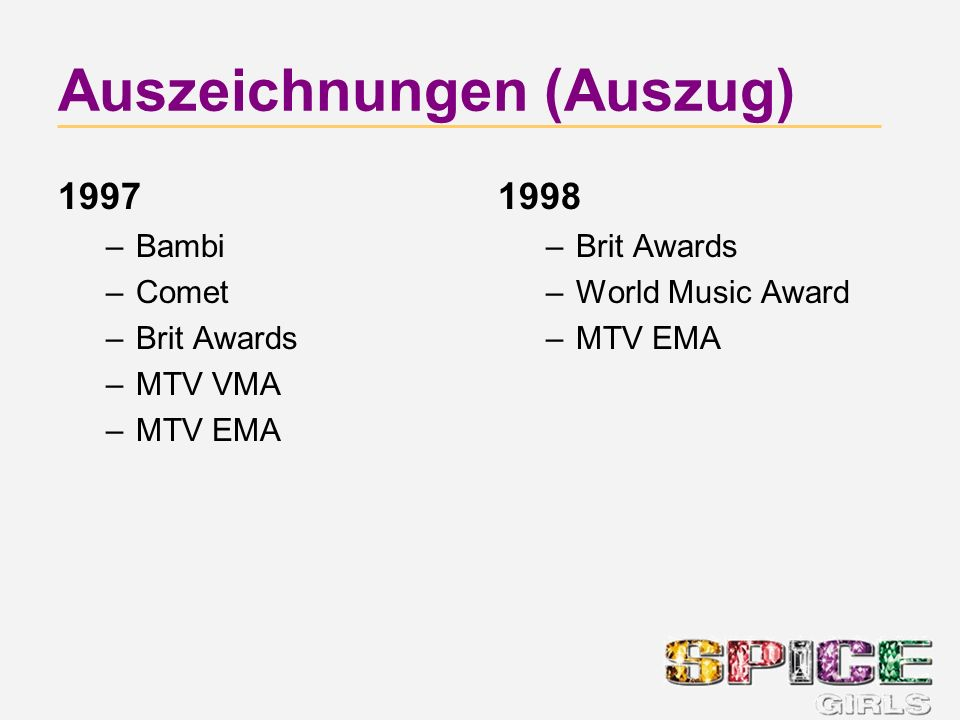 Auszeichnungen (Auszug) 1997 –Bambi –Comet –Brit Awards –MTV VMA –MTV EMA 1998 –Brit Awards –World Music Award –MTV EMA