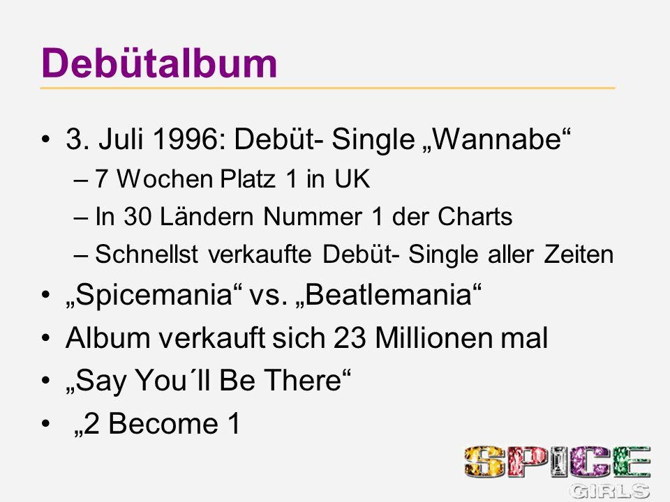 Debütalbum 3. Juli 1996: Debüt- Single Wannabe –7 Wochen Platz 1 in UK –In 30 Ländern Nummer 1 der Charts –Schnellst verkaufte Debüt- Single aller Zei