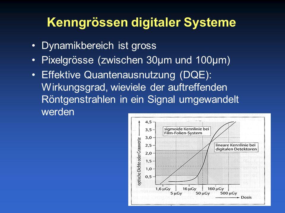 Dynamikbereich ist gross Pixelgrösse (zwischen 30µm und 100µm) Effektive Quantenausnutzung (DQE): Wirkungsgrad, wieviele der auftreffenden Röntgenstrahlen in ein Signal umgewandelt werden Kenngrössen digitaler Systeme