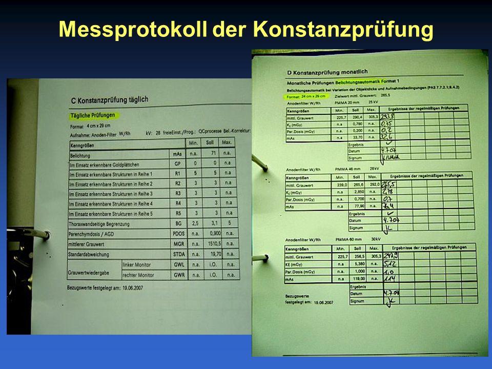 Messprotokoll der Konstanzprüfung