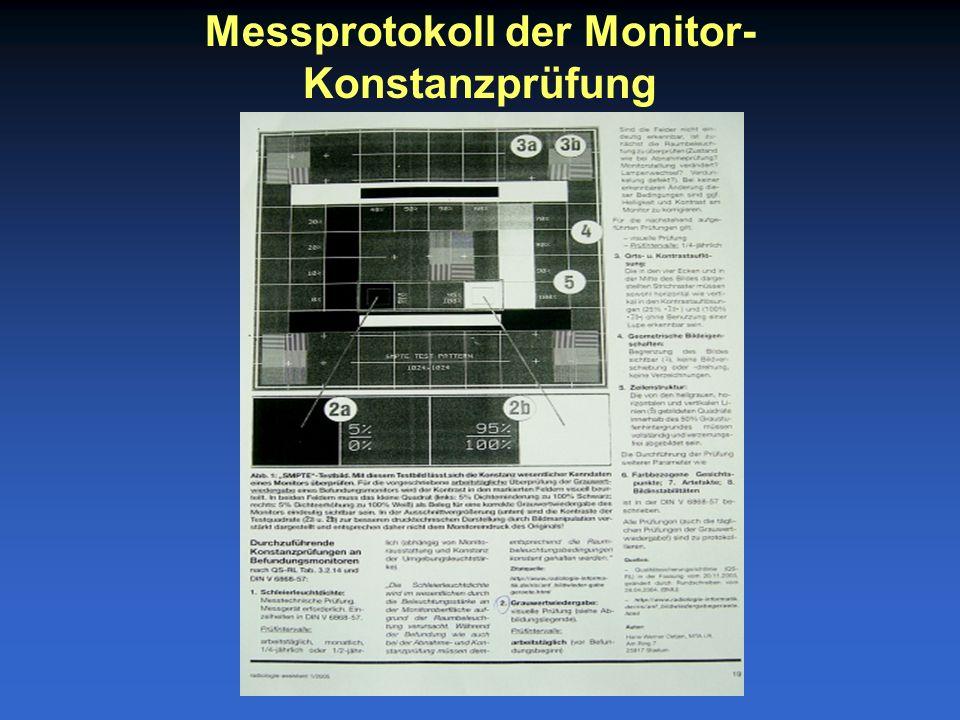 Messprotokoll der Monitor- Konstanzprüfung
