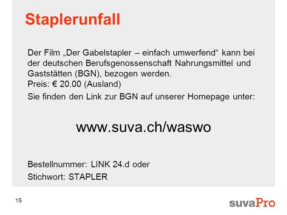 15 Staplerunfall Der Film Der Gabelstapler – einfach umwerfend kann bei der deutschen Berufsgenossenschaft Nahrungsmittel und Gaststätten (BGN), bezogen werden.
