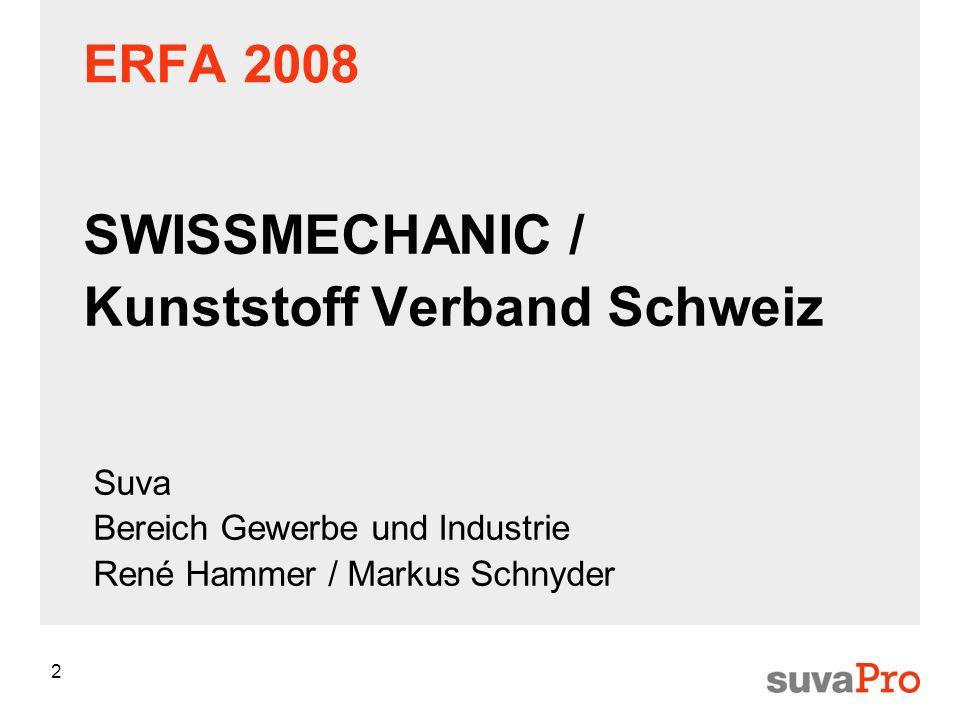 2 ERFA 2008 SWISSMECHANIC / Kunststoff Verband Schweiz Suva Bereich Gewerbe und Industrie René Hammer / Markus Schnyder