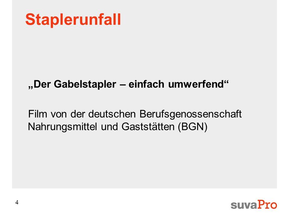 4 Staplerunfall Der Gabelstapler – einfach umwerfend Film von der deutschen Berufsgenossenschaft Nahrungsmittel und Gaststätten (BGN)