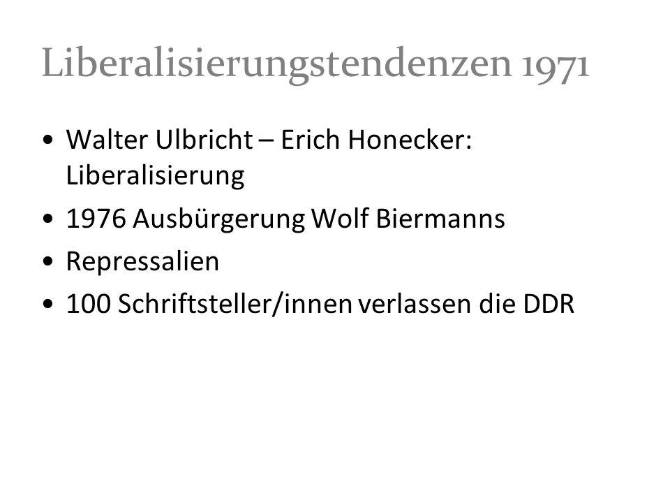 Liberalisierungstendenzen 1971 Walter Ulbricht – Erich Honecker: Liberalisierung 1976 Ausbürgerung Wolf Biermanns Repressalien 100 Schriftsteller/inne