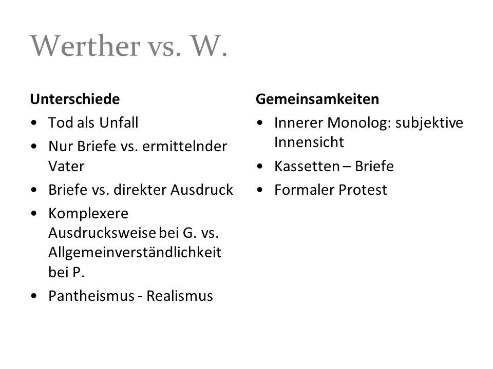 Werther vs. W. Unterschiede Tod als Unfall Nur Briefe vs. ermittelnder Vater Briefe vs. direkter Ausdruck Komplexere Ausdrucksweise bei G. vs. Allgeme