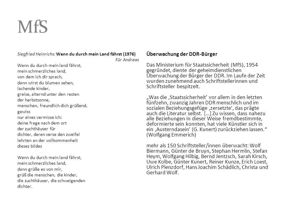 MfS Siegfried Heinrichs: Wenn du durch mein Land fährst (1976) Für Andreas Wenn du durch mein land fährst, mein schmerzliches land, von dem ich dir sp