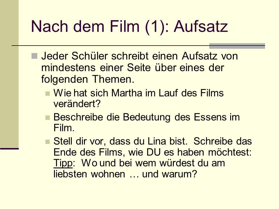 Nach dem Film (1): Aufsatz Jeder Schüler schreibt einen Aufsatz von mindestens einer Seite über eines der folgenden Themen. Wie hat sich Martha im Lau