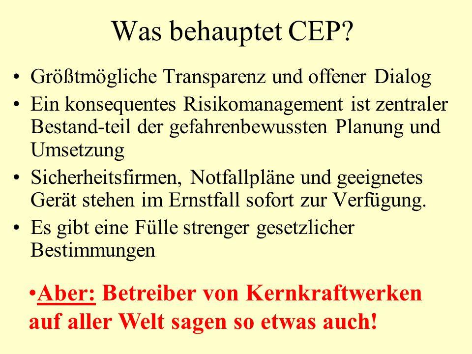 Was behauptet CEP.