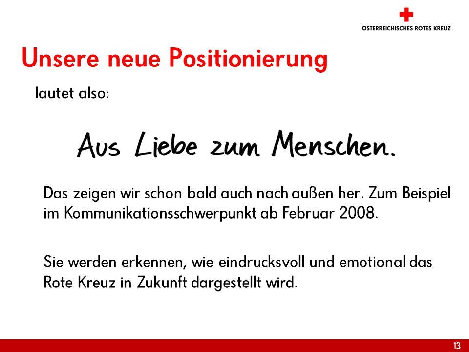 13 Unsere neue Positionierung lautet also: Das zeigen wir schon bald auch nach außen her. Zum Beispiel im Kommunikationsschwerpunkt ab Februar 2008. S