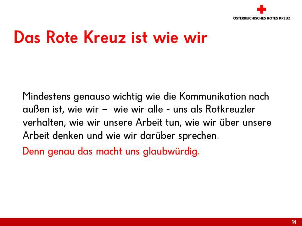 14 Das Rote Kreuz ist wie wir Mindestens genauso wichtig wie die Kommunikation nach außen ist, wie wir – wie wir alle - uns als Rotkreuzler verhalten,