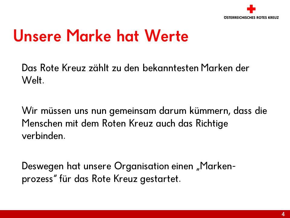 4 Unsere Marke hat Werte Das Rote Kreuz zählt zu den bekanntesten Marken der Welt. Wir müssen uns nun gemeinsam darum kümmern, dass die Menschen mit d