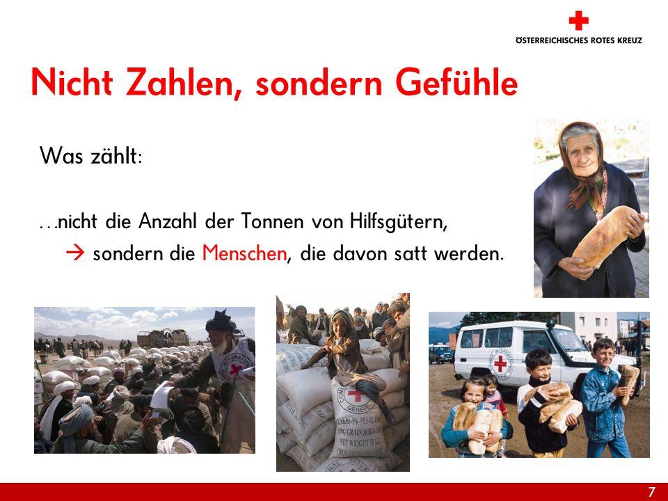 7 Nicht Zahlen, sondern Gefühle Was zählt: …nicht die Anzahl der Tonnen von Hilfsgütern, sondern die Menschen, die davon satt werden.