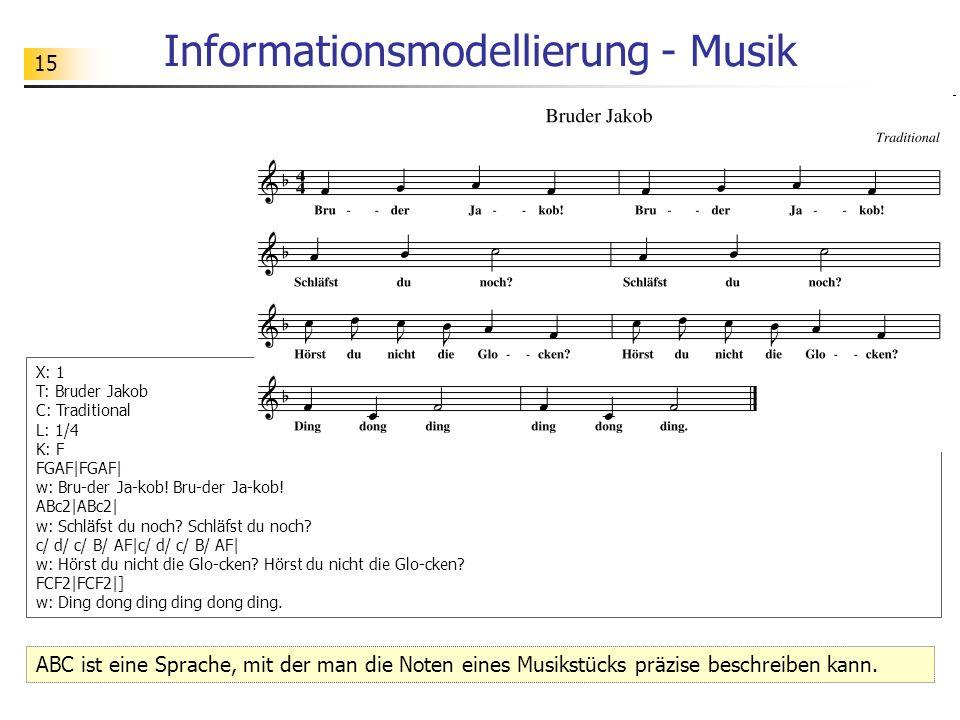 15 Informationsmodellierung - Musik ABC ist eine Sprache, mit der man die Noten eines Musikstücks präzise beschreiben kann. X: 1 T: Bruder Jakob C: Tr