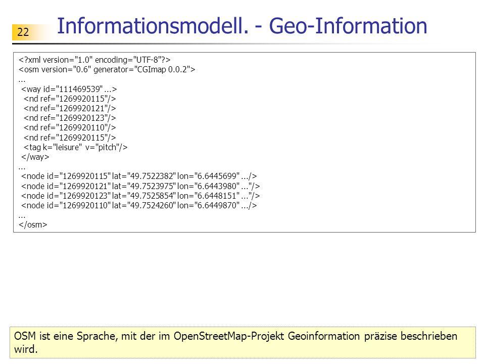 22 Informationsmodell. - Geo-Information OSM ist eine Sprache, mit der im OpenStreetMap-Projekt Geoinformation präzise beschrieben wird..........