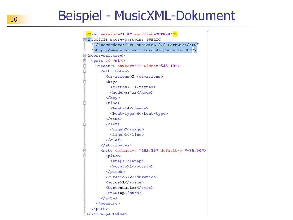 30 Beispiel - MusicXML-Dokument