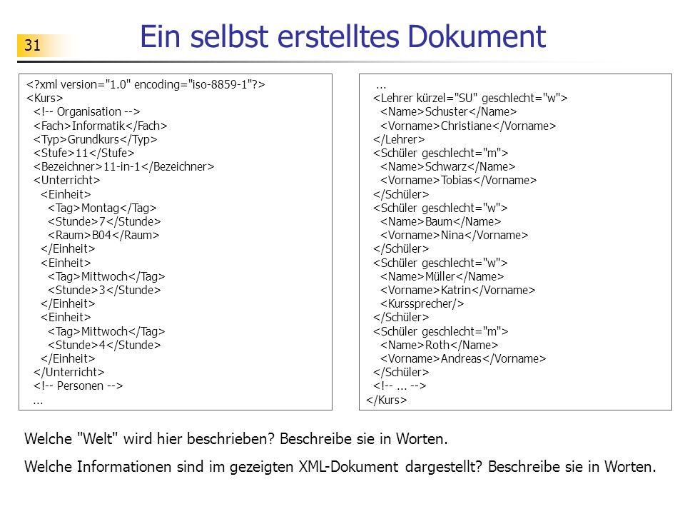31 Ein selbst erstelltes Dokument Informatik Grundkurs 11 11-in-1 Montag 7 B04 Mittwoch 3 Mittwoch 4... Schuster Christiane Schwarz Tobias Baum Nina M