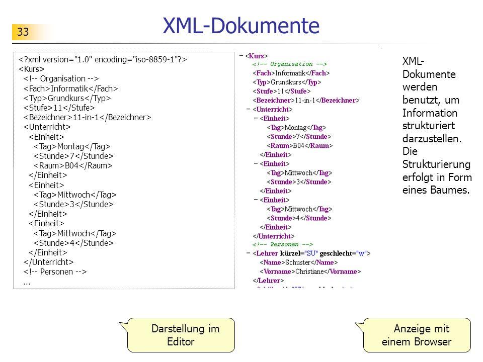 33 XML-Dokumente Informatik Grundkurs 11 11-in-1 Montag 7 B04 Mittwoch 3 Mittwoch 4... XML- Dokumente werden benutzt, um Information strukturiert darz