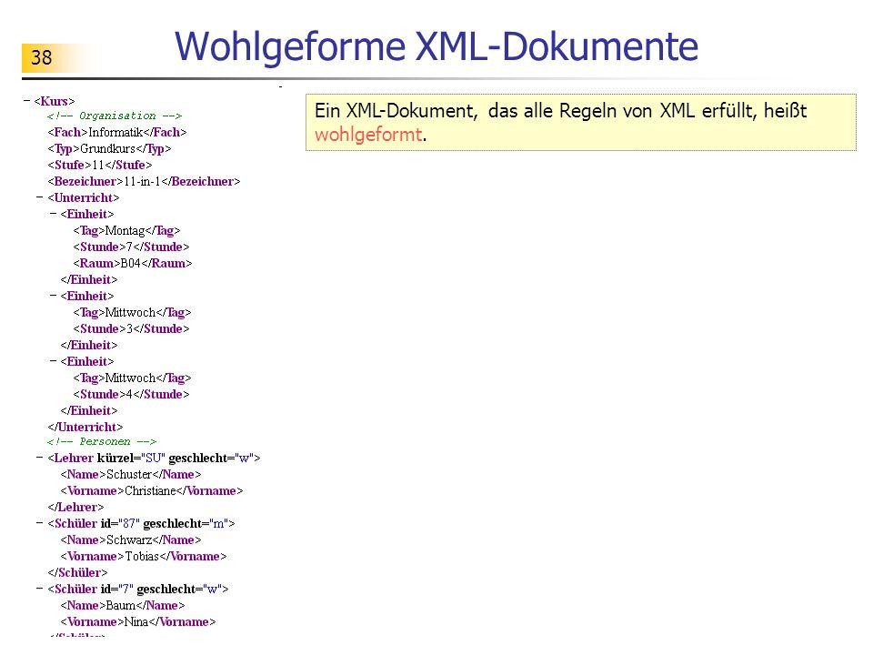 38 Wohlgeforme XML-Dokumente Ein XML-Dokument, das alle Regeln von XML erfüllt, heißt wohlgeformt.
