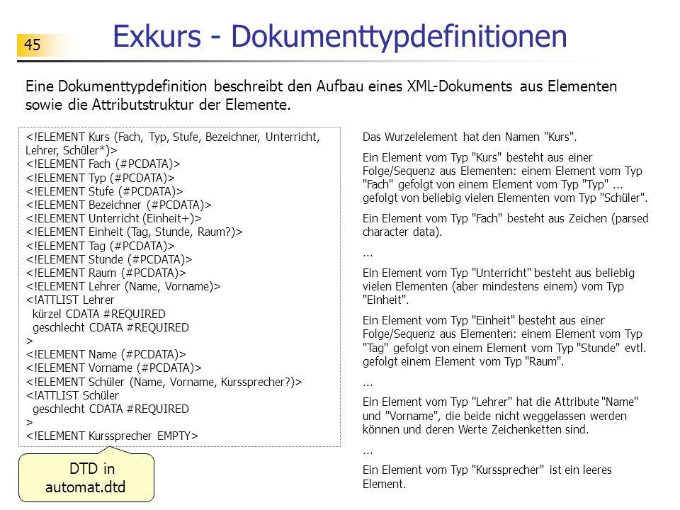 45 Exkurs - Dokumenttypdefinitionen <!ATTLIST Lehrer kürzel CDATA #REQUIRED geschlecht CDATA #REQUIRED > <!ATTLIST Schüler geschlecht CDATA #REQUIRED