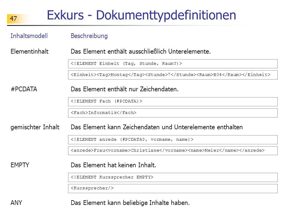 47 Exkurs - Dokumenttypdefinitionen InhaltsmodellBeschreibung ElementinhaltDas Element enthält ausschließlich Unterelemente. #PCDATADas Element enthäl