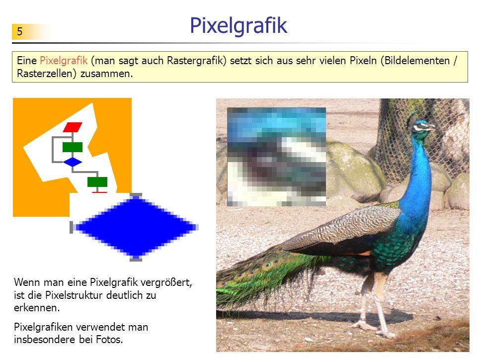 5 Pixelgrafik Eine Pixelgrafik (man sagt auch Rastergrafik) setzt sich aus sehr vielen Pixeln (Bildelementen / Rasterzellen) zusammen. Wenn man eine P