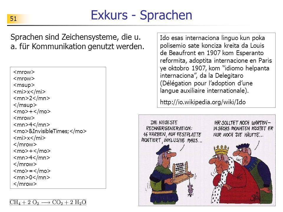 51 Exkurs - Sprachen Sprachen sind Zeichensysteme, die u. a. für Kommunikation genutzt werden. Ido esas internaciona linguo kun poka polisemio sate ko
