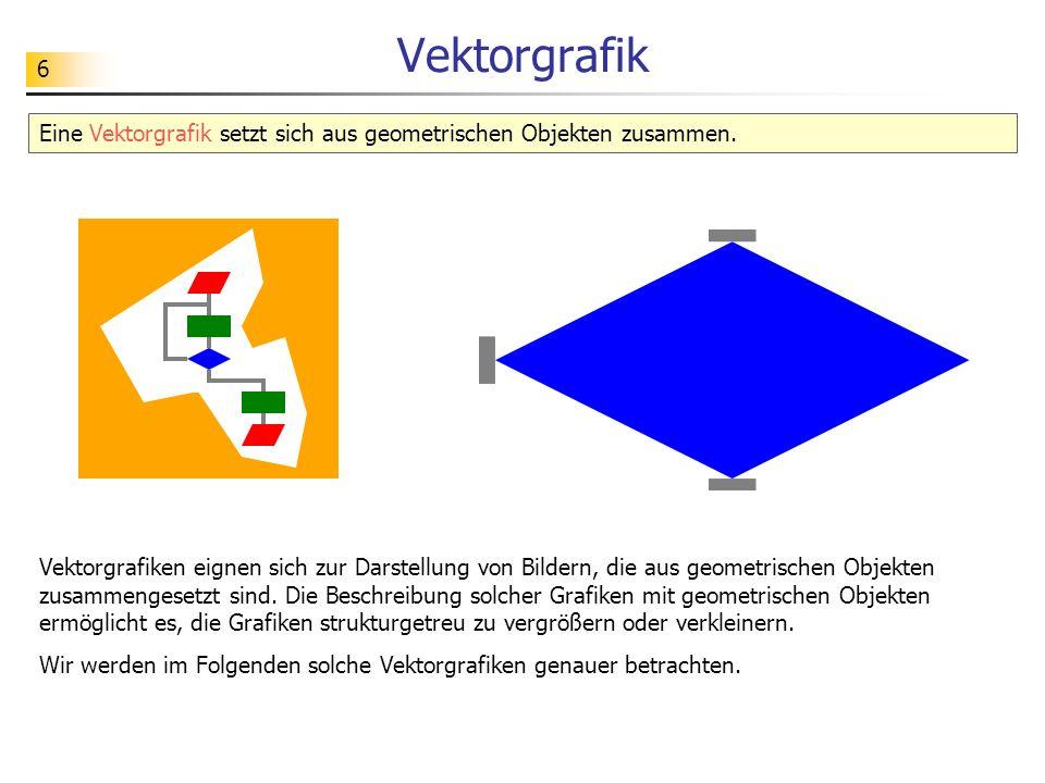 6 Vektorgrafik Eine Vektorgrafik setzt sich aus geometrischen Objekten zusammen. Vektorgrafiken eignen sich zur Darstellung von Bildern, die aus geome