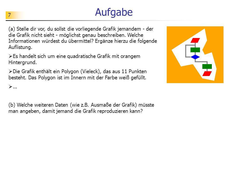 8 <!DOCTYPE svg PUBLIC -//W3C//DTD SVG 1.1//EN http://www.w3.org/Graphics/SVG/1.1/DTD/svg11.dtd > <polygon points= 160 10 20 100 60 170 110 160 150 220 200 230 210 180 190 110 160 120 150 100 170 60 fill= white > Aufgabe Versuche, die Bedeutung möglichst vieler Bestandteile des gezeigten Quelltextes herauszufinden.